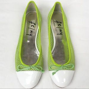 FS/NY French Sole Neon Lime Mesh Ballet Flat